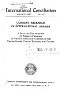 Current Research In International Affairs