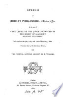 Speech     in the case of  the office of the judge promoted by the bishop of Salisbury against Williams