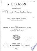 A Lexicon Abridged from Liddell   Scott s Greek English Lexicon