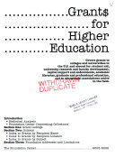 Grants For Higher Education 2005 2006 Book PDF