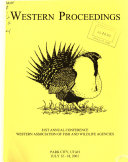 Proceedings of the Western Association of Fish and Wildlife Agencies