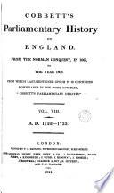 Cobbett S Parliamentary History Of England 1722 1733 Book