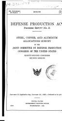 Defense Production Act  Progress Report    No