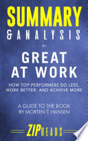 Summary Analysis Of Great At Work Book PDF