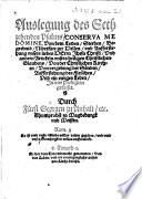 Auslegung des Sechzehenden Psalms, Conserva me Domine, ... in vier Predigten gefasset. [With woodcuts.]