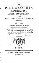 De Philosophia Socratis, liber singularis