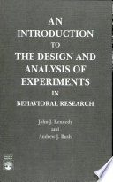 An Introduction To The Design And Analysis Of Experiments In Behavioral Research Book PDF