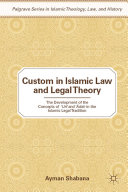 Pdf Custom in Islamic Law and Legal Theory Telecharger