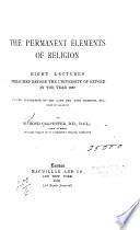 The Permanent Elements of Religion Book