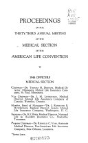 Proceedings Annual Meeting Of The Medical Section Of The American Life Convention