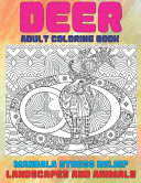 Adult Coloring Book Landscapes and Animals   Mandala Stress Relief   Deer