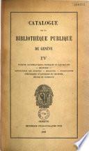 Catalogue de la bibliothèque publique de Genève: Sciences mathématiques, physiques et naturelles