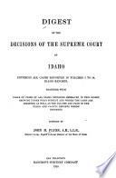Digest Of The Decisions Of The Supreme Court Of Idaho