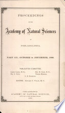 Proceedings Of The Academy Of Natural Sciences Part Iii Oct Dec 1880