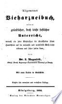 Allgemeines Vieharzneibuch ... Sechste sehr vermehrte ... Auflage