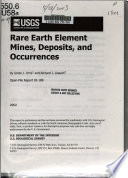 Rare Earth Element Mines, Deposits and Occurrences