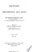Lectures on Metaphysics and Logic Book PDF