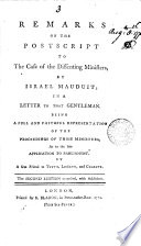 Remarks on the Postscript to The Case of the Dissenting Ministers  by Israel Mauduit  Book PDF
