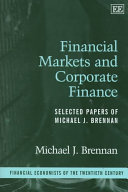 Financial Markets and Corporate Finance