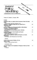 Journal of Policy Modeling A Social Science Forum of World Issues Volume 10, Number 1, April 1988