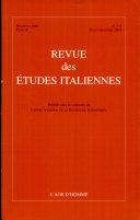 Revue Des Etudes Italiennes N° 50 3-4