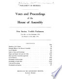 Votes And Proceedings Of The House Of Assembly