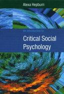An Introduction to Critical Social Psychology Pdf/ePub eBook
