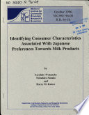 Identifying Consumer Characteristics Associated with Japanese Preferences Towards Milk Products