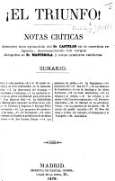 Pdf ¡El Triunfo! Notas críticas al discurso [of 12 April 1869] ... del Sr. Castelar en la cuestion religiosa, desvaneciendo los cargos dirigidos al Sr. Manterola, etc. [With the text.]