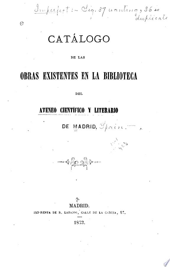 Catálogo de las obras existentes e