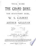 Vocal Score of The Grand Duke