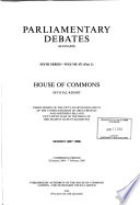 Parliamentary Debates, House of Commons - Bound Volumes