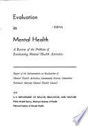 Evaluation In Mental Health Book PDF