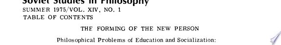 Soviet Studies in Philosophy