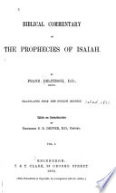Biblical Commentary on the Prophecies of Isaiah