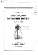 Report of the Date Grower s Institute Held in Coachella Valley  California Book