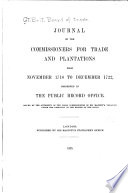 Journal of the Commissioners for Trade and Plantations ...: From November 1718 to December 1722. 1925