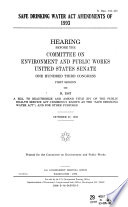 Safe Drinking Water Act Amendments of 1993 Book