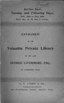 Catalogue of the ... Library of the Late George Livermore, Esq.. of Cambridge, Mass