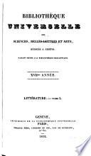 Biblioth  que universelle des sciences  belles lettres  et arts