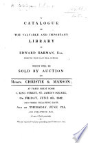 A Catalogue of the Library of E. Harman, etc