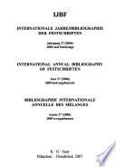 Bibliographie internationale annuelle des mélanges