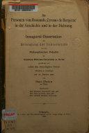 """Die Personen von Rostands """"Cyrano de Bergerac"""" in der Geschichte und in der Dichtung"""