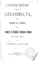 A Concise History of the City of Alexandria, Va
