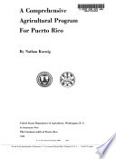 A Comprehensive Agricultural Program for Puerto Rico