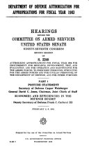 Department of Defense Authorization for Appropriations for Fiscal Year 1983