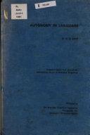 Autonomy in Language