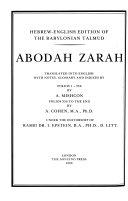 Hebrew-English Edition of the Babylonian Talmud: Abodah Zarah, Horayoth, Eduyyoth, Aboth