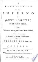 A Translation of the Inferno of Dante Alighieri