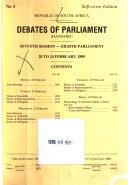 Debates of Parliament Book